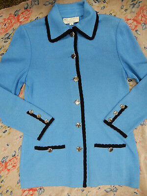 ST. JOHN Collection sky blue and black Marie Gray button down blazer sz 6 L@@K!