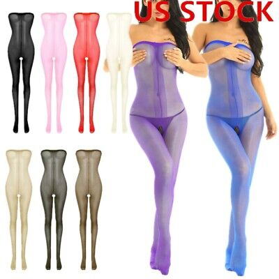 Women Sheer Mesh Toe to Bust Crotchless Body Stocking Leotard Pantyhose Lingerie
