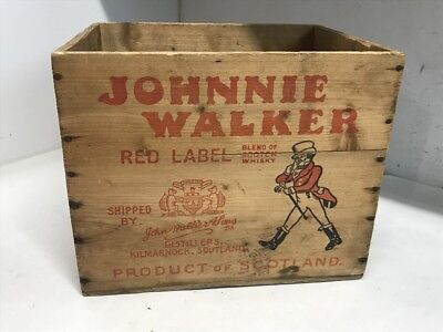 Antique Vintage Johnnie Walker Scotch Whisky Wooden Advertising Crate Red Label