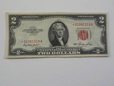 Currency Note 1953 2 Dollar Bill Star Red Seal Paper Money United States USA
