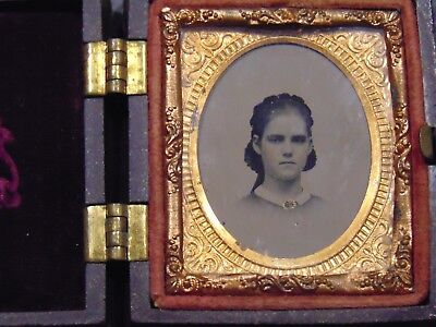 SMALL RUBY AMBROTYPE of HATTIE WOODS CARRIED BY CIVIL WAR SOLDIER CHARLES COFF