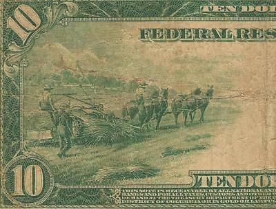 Large 1914 $10 Dollar Bill Big Federal Reserve Note Old Paper Money Jackson