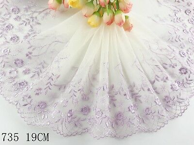 "7.5""*1yard Delicate Light Purple Embroidered flower tulle Lace Trim sewing 735"