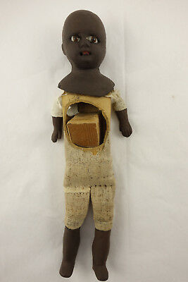 Antique Black African American Doll Glass Eyes Primitive Unusual