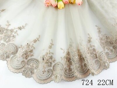 "8.5""*1yard Delicate Light olive green Embroidered flower tulle Lace Trim DIY 724"