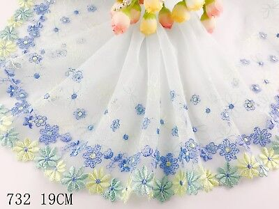 "7.5""*1yard Delicate Light Blue Embroidered flower tulle Lace Trim sewing 732"