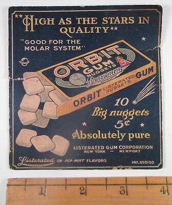 ORBIT Chewing Gum Nuggets - Old Graphic Display Box Panel / Mini sign