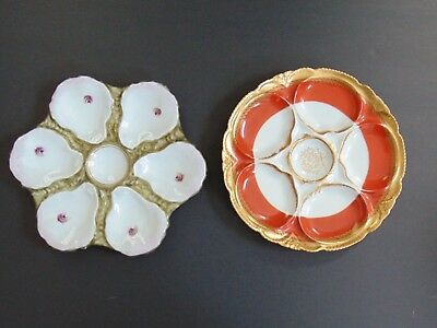 Two Beautiful Antique Hand Painted Haviland Porcelain Oyster Plates
