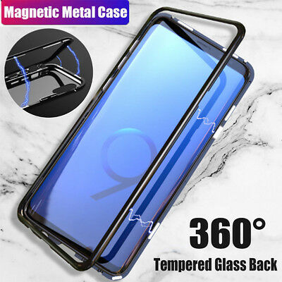 360°Magnet Adsorption Metal Case For Samsung Galaxy S8 s9 Tempered Glass Cover W