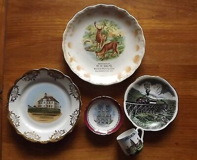 Antique Lot Of 5 Pieces Souvenir China ,arkansas,wisconsin,new Hampshire,