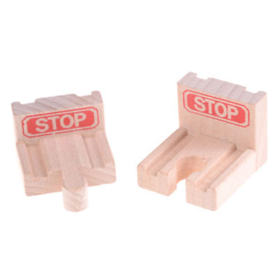 2x End Bumper Buffer Stop Set Wooden Railway Track Train Block Toy Gifts Sale S1