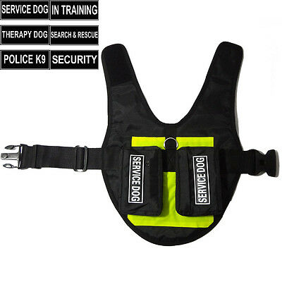 SERVICE DOG Vest Harness with Side Bags label Patches TRAINING THERAPY SECURITY