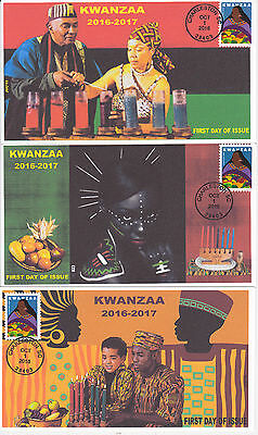 Jvc Cachets - 2016 Kwanzaa Issue First Day Cover Fdc Set Of 3 Black Heritage