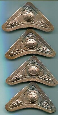 Hammered Copper Corner Ornaments, Arts and Crafts Period, 4 Pieces