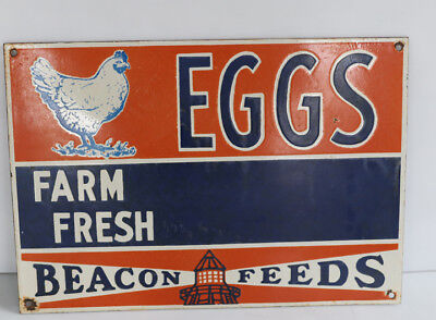 FARM FRESH EGGS Porcelain BEACON FEED Sign with Chicken & Lighthouse