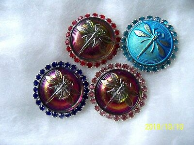 REDUCED CZECH GLASS BUTTONS ( LAST 4 pcs) 23mm  DRAGONFLY WITH RHINESTONES   02