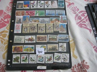 3 Pages Used Aust. Stamps. Lot 710.  All Off Paper & Nearly All Different.