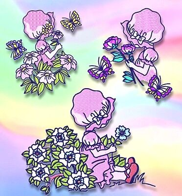 Sunbonnet And Flowers 10 Machine Embroidery Designs 3 Sizes Included