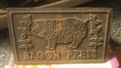 Vintage Cast Iron Bacon Press with Wooden Handle Old Antique