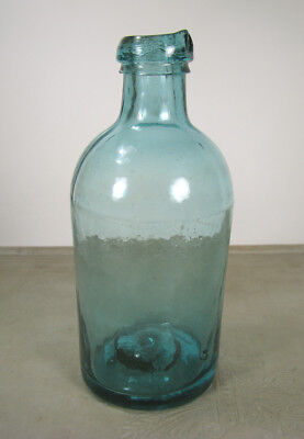 Awesome!!! IRON PONTILED! Rich Aqua old Drippy Top MASTER INK bottle 1840's