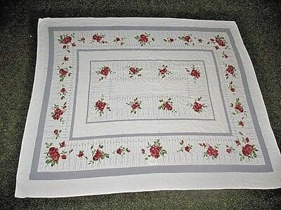 "VINTAGE 1950'S MCM Tablecloth RED ROSES GRAY TRELLIS ON WHITE 48"" x 56"" AS IS"