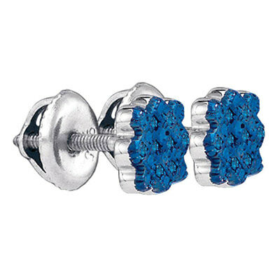 Sterling Silver Round Blue Color Enhanced Diamond Cluster Stud Earrings 1/20 Ctw
