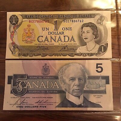 Bank Of Canada 1973 1 un dollar and 1986 cinq 5 dollars Belted Kingfisher
