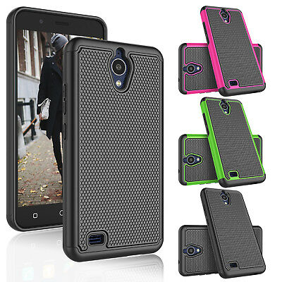 For AT&T AXIA(QS5509A) / Cricket Vision Hybrid Shockproof Rubber Hard Case Cover