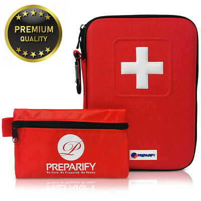 Premium First Aid Kit 2-in-1 | 120 Pieces in Red Semi Hard Case + 32 Piece...