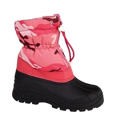 Girls Pink Snow Boots Warm Winter Camo Print Camouflage Faux Fur Lined Kids Size