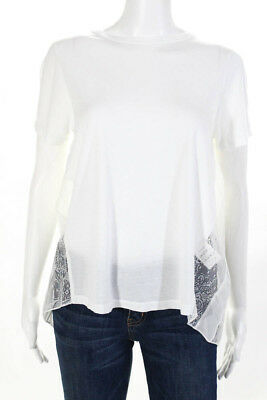 d22a38c380a Clu Womens T-Shirt White Cotton Short Sleeve Lace Contrast Size Small