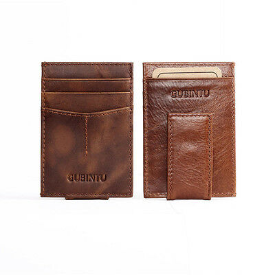 Mens Genuine Leather Credit Card Holder Slim Wallet Cash Coin Purse Father's Day