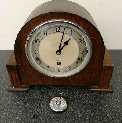 Old wooden cased Garrard chiming mantel clock with pendulum