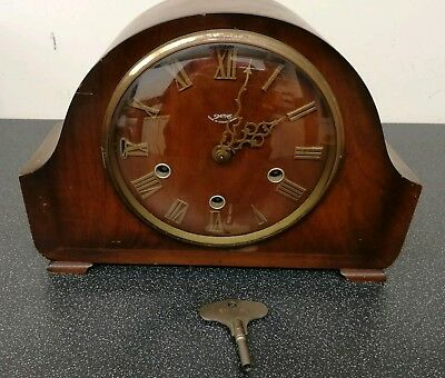 Old wooden cased Smiths chiming mantel clock with key