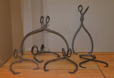 6 vintage ice hay log tongs collectible barn farm decoration primitive tool lot