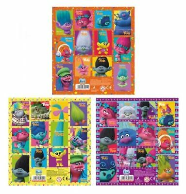 3 x Official TROLLS Sticker Sheets Contains 36 Stickers in Total