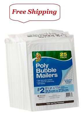"Duck Brand #2 Poly Bubble Mailer - White, 25 pk, 8.5"" x 11"""