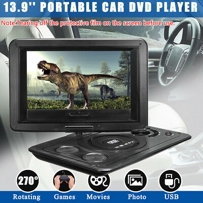UK Portable 13.9'' USB DVD Player 270° Screen Car Charger Remote Control + Game