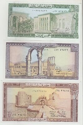 Lebanon set of 3 ( 5, 10 & 25 Livers ) Banknote in UNC