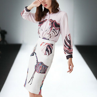 2019 New fashion lapel abstract printed shirt+split skirt women makings hot suit