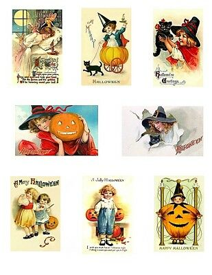 Victorian Children Halloween Greetings Cotton Blocks FrEE ShiPPinG WoRld WiDE