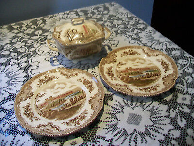 Johnson Bros Old Britain Castles two plates and a sugar bowl?