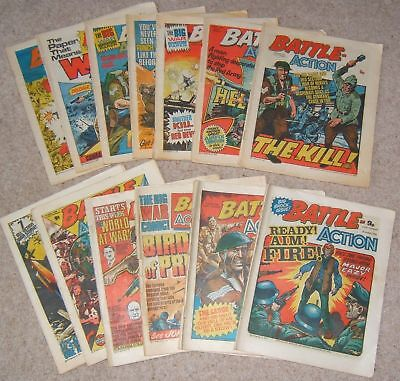 Battle Action comic,14 consecutive issues Mar-Jun '78 mixed condition (554)