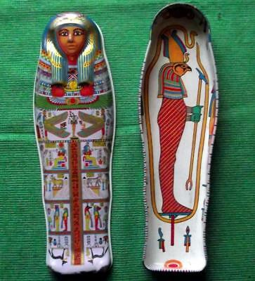 Vintage Egyptian Sarcophagus Tin Box British Museum Souvenir for Archaeologist Y