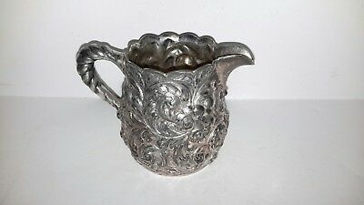 Nice Antique ornate cut floral Simpson Hall Miller quadruple plate creamer jug
