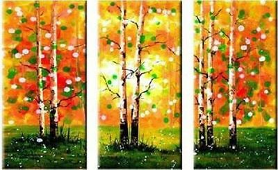 CHOP296 3pcs 100% hand-painted home landscape art oil painting on canvas:tree