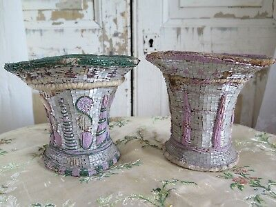 Pair 1815 signed french Glass BEADWORK Vase Empire NAPOLEON I Biedermeier