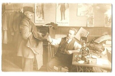 432      c1910 RPPC Manchester NH Tailor Shop Sewing Machine Posters Textile
