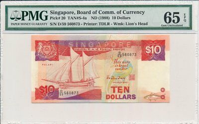 Board of Comm.of Currency Singapore  $10 ND(1988)  PMG  65EPQ