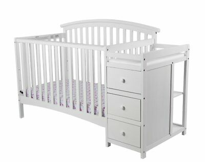 5-In-1 Convertible Crib Changer Nursery Daybed 3-Position Adjustable Mattress